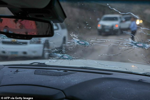 The bullet ridden windshield after a drug cartel opened fire on Mormon families killing nine