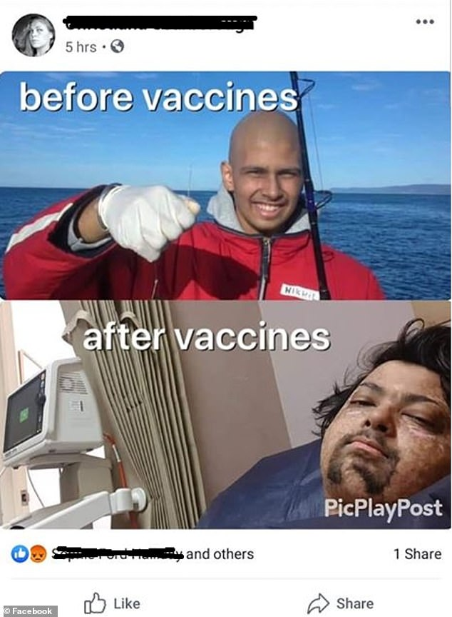 The meme (pictured) made by anti-vaxxers insinuating that Nikhil Autar's use of vaccines is what caused him to get cancer