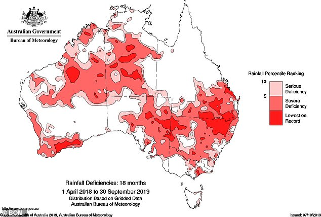 More than 99 per cent of New South Wales is still in drought, with more than a third - or 34.7 per cent - of the state suffering from an intense drought