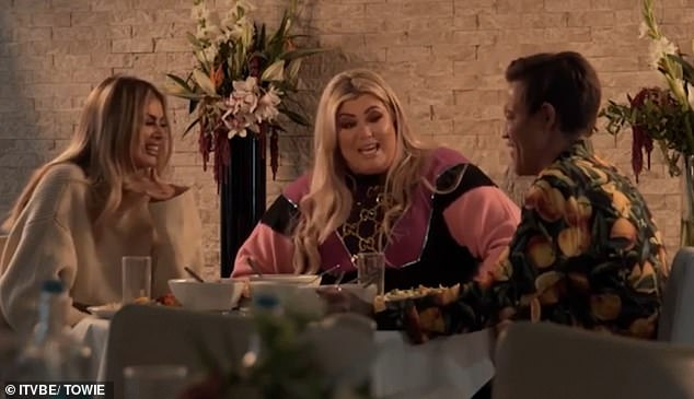 Catching up: Gemma said she hasn't 'stopped eating with the stress and upset' of her split as she appeared on Sunday night's episode of TOWIE with pals Chloe Sims and Bobby Norris