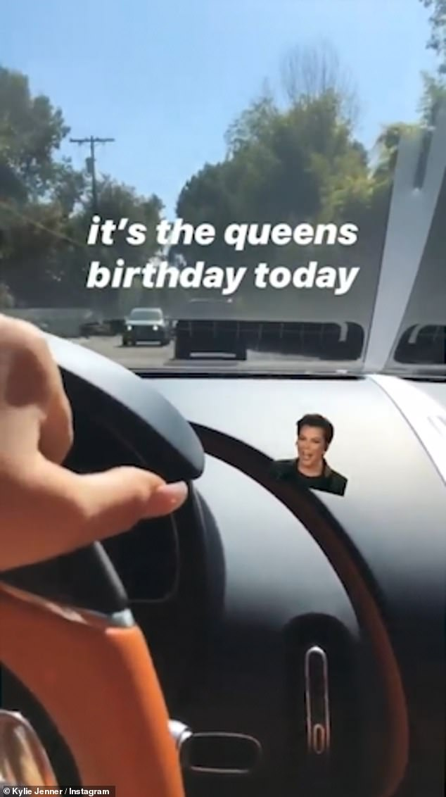 Dangerous: The reality star and makeup mogul, 22, uploaded a series of posts to her Instagram Stories on Tuesday as she headed to her mother Kris Jenner's birthday lunch
