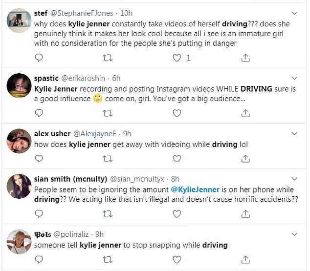 Criticism:Fans took to Twitter to slam the star, with one tweeting: 'see, this is what we DONT do @KylieJenner, being on your phone and driving is ILLEGAL and DANGEROUS'