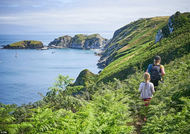 Gabriel Gilson captured Lundy island in Devon for her entry. It shows the popular hiking route with the sea over the cliffs
