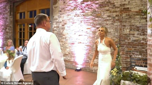 The rehearsed piece brought the room to silence as the guests watched and listened intently until the end where Al was met with huge applause and an emotional hug from daughter and newlywed