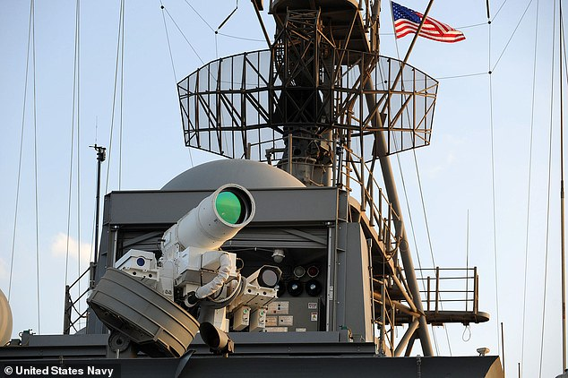 Pictured: The USS Ponce equipped with an XN-1 LaWS - Laser Warfare System.