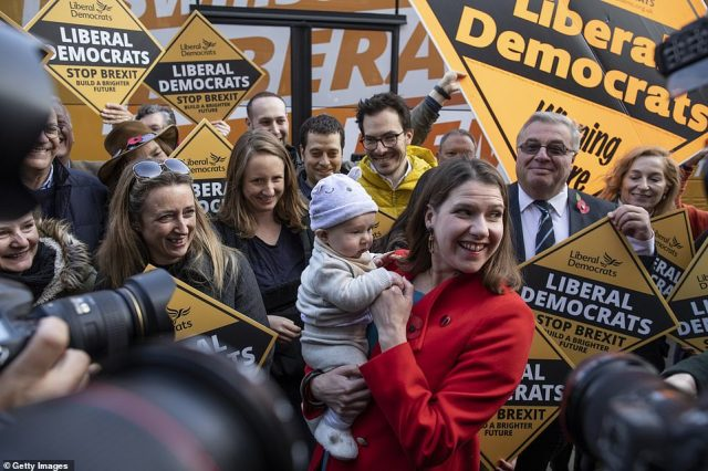 Liberal Democrat leader Jo Swinson was on the election campaign trail in Golders Green, north London today