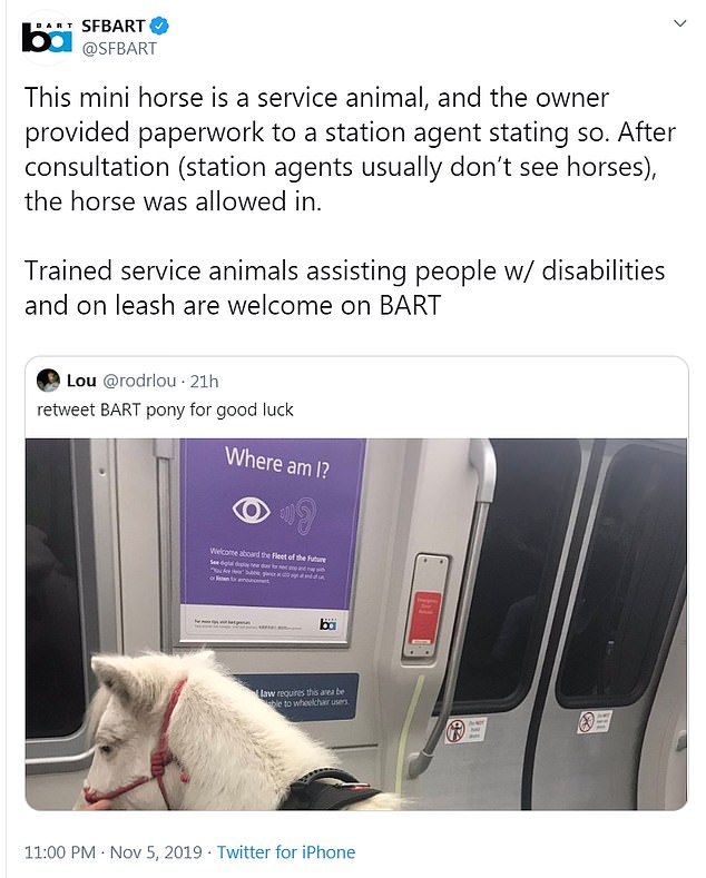 According to BART, which provides train service throughout the San Francisco Bay Area, Sweets' owner had the appropriate documentation needed to get her on the train at the Rockridge station on Tuesday