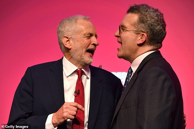 Jeremy Corbyn, pictured with Mr Watson at Labour conference in Liverpool in September 2018, said he wanted to 'sincerely thank' his deputy for his 'contribution to this Party over the last 30 years'