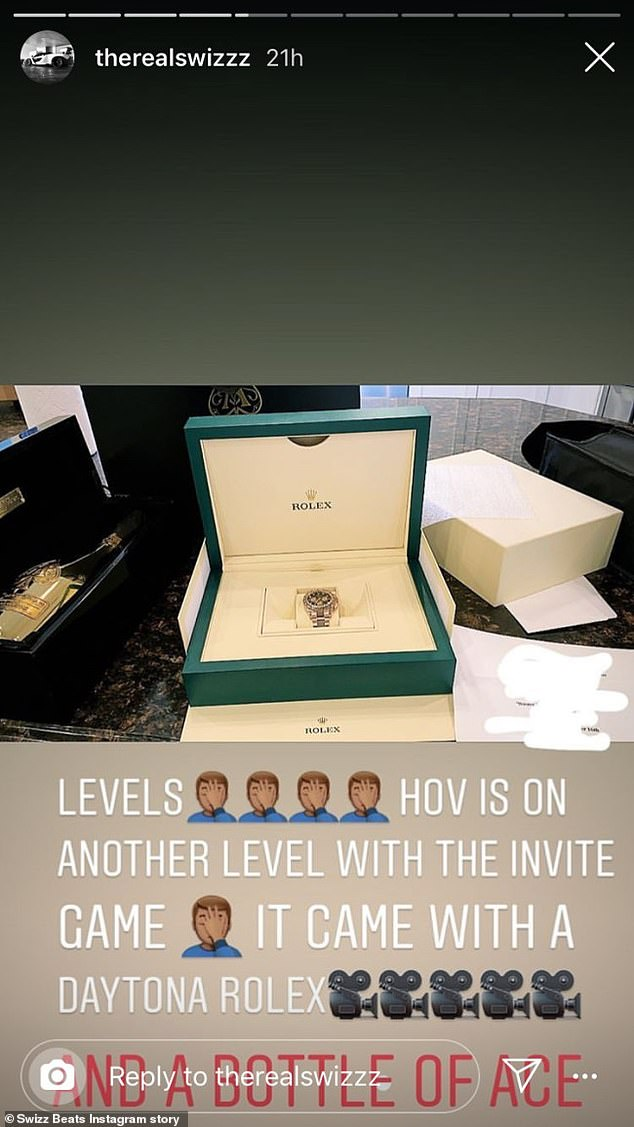 He liked it: Swizz shared a photo of the watch inside its impressive case and the bubbly in its box