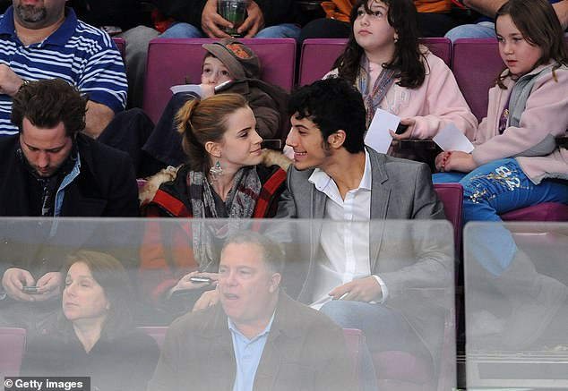 Emma Watson and her then boyfriend attend the Florida Panthers game against the New York Rangers at Madison Square Garden on November 21, 2009 in New York City