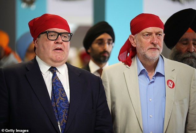 Red heads: Tom Watson with Jeremy Corbyn at a Sikh temple and, above, in a pin-striped suit. Since being elected Labour's deputy leader in 2015, he had established an important powerbase as a counterbalance to the Corbynists who had dragged their party ever leftwards