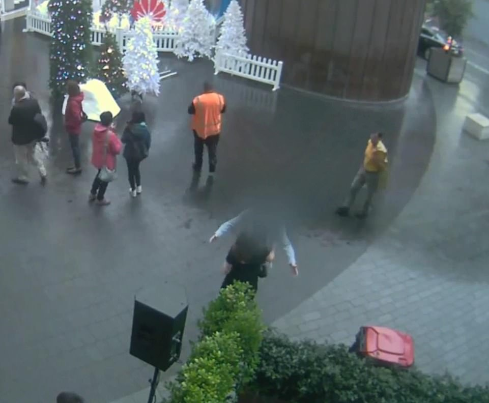 5,45pm: CCTV footage shown to jurors the defendant (whose face is obscured) walked into view and open his arms for a hug with Grace Millane as they met for the first time on December 1 in Auckland, New Zealand