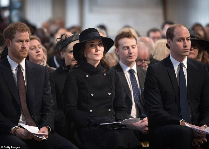 The Duke of Sussex sits next to Kate and William for a Grenfell memorial service at St Paul's Cathedral in December 2017