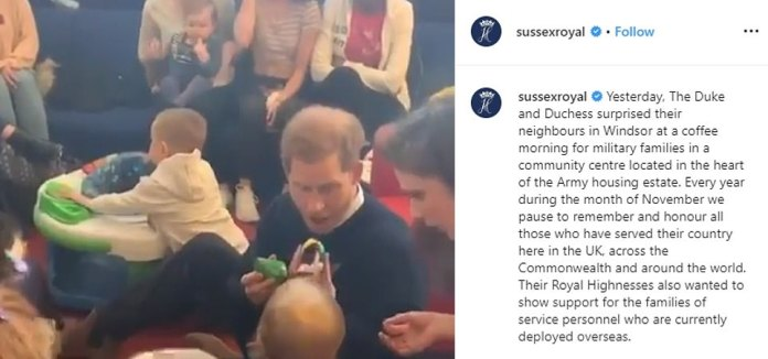 Photographs and details of the visit were released at 9am today in an Instagram post on the couple's Sussex Royal account