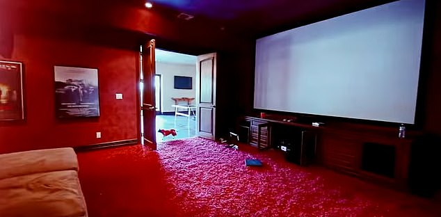 There is also a large cinema room, gym and part of the home features a stripper pole