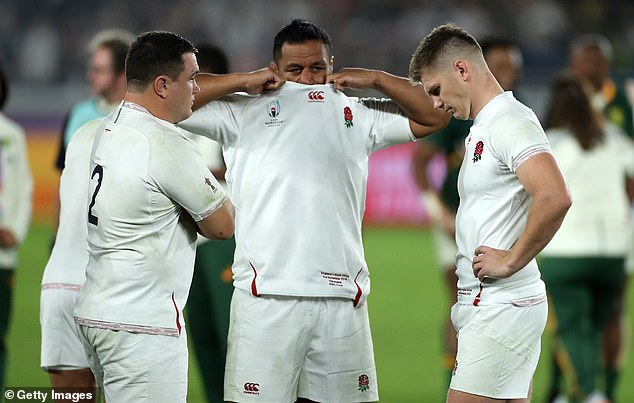 Jamie George, Mako Vunipola and captain Owen Farrell show their dismay after the defeat