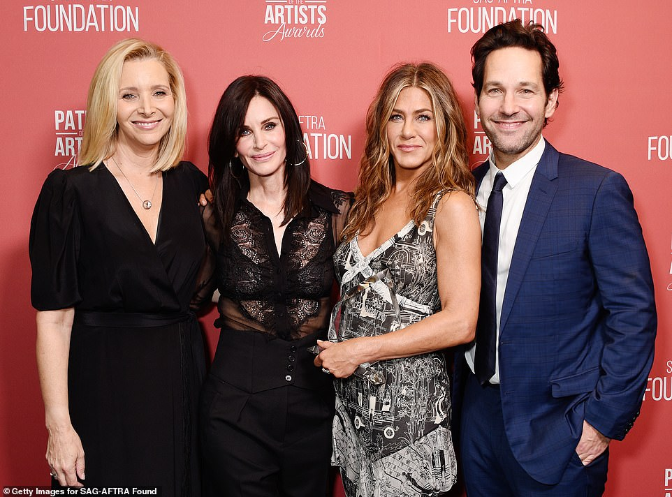 Look who's here: Paul Rudd, who played Kudrow's character Phoebe's third husband on the NBC sitcom, also joined in the fun