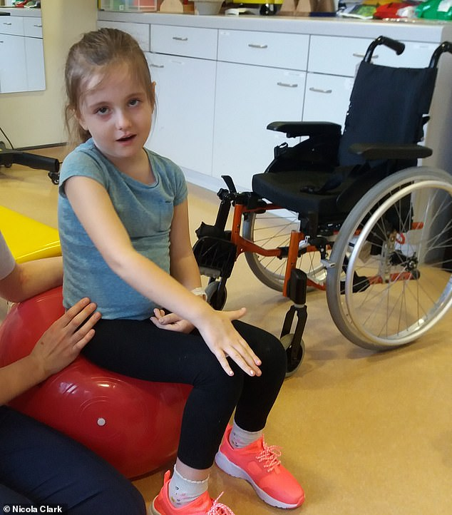 Evie has had a lot of physiotherapy to regain the strength in her limbs. AFM causes swelling which triggers nerve damage – this can either be temporary and function return with time, or it can be longer term if the nerves or the protective coating around them are extensively damaged