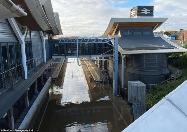 Rotherham train station is under water today as railway services across South Yorkshire are hit by the flooding and heavy rain