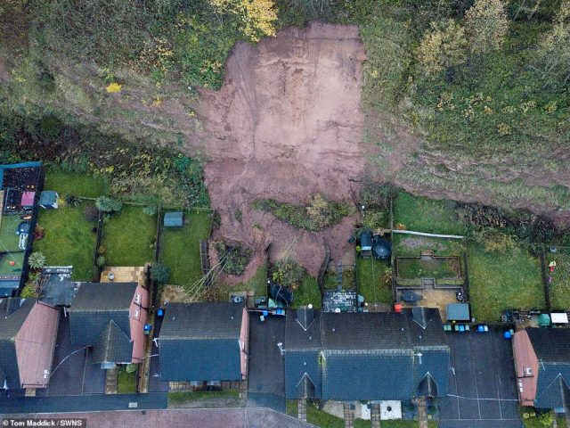Some 35 homes were evacuated in Mansfield after a mudslide at a quarry which fell into a homeowner's garden yesterday