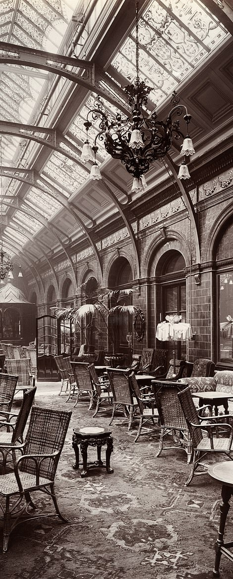 The historic images of the glamorous hotel, located inMarylebone, were all shot at the end of the 19th century shortly after the hotel opened in 1899. Pictured is the grand atrium