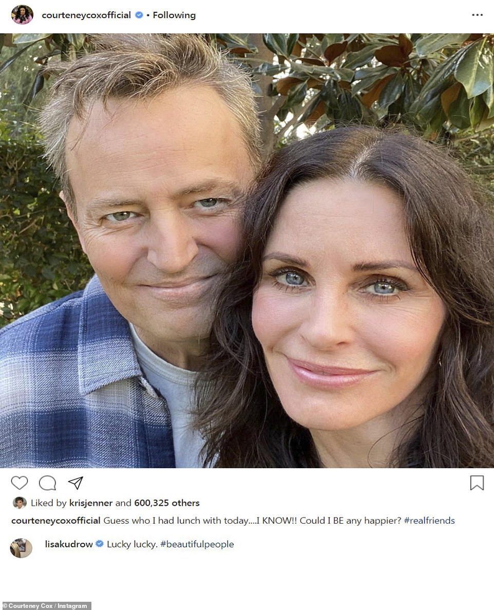 Reunited: The outing came just hours after Courteney shared a selfie with Matthew Perry to her Instagram after they had lunch together and added the hashtag '#realfriends'