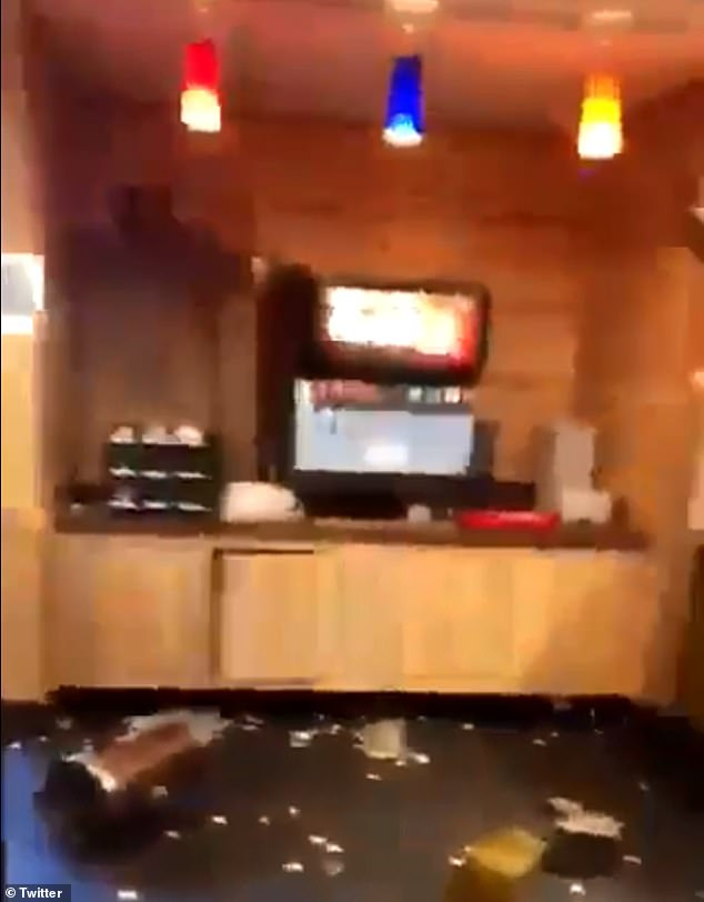 Chaos then ensues as the worker then throws the container back across the counter at him as a female companion with the man gets involved and starts throwing food