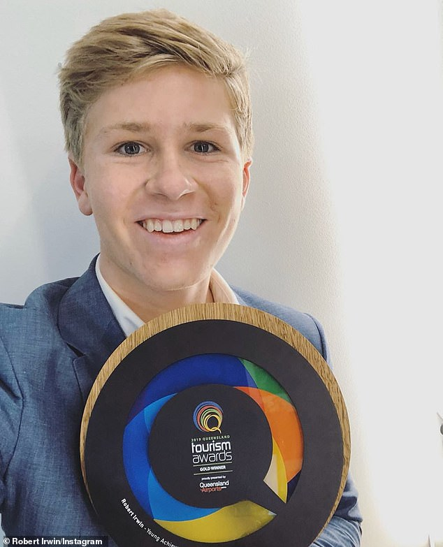 Congratulations!15-year-old Robert Irwin (pictured) has been honoured again after winning the Queensland Tourism Young Achiever Award