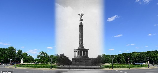 In August this year, unemployment in the east stood at 6.5 per cent, compared with 4.8 per cent in the west. Pictured: The Siegessäule, or Victory Column, to commemorate theDanish-Prussian War