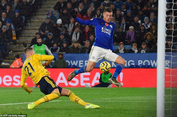 Calum Chambers had to be alert to deny Vardy a tap in after nicking the ball away from the Leicester striker's feet