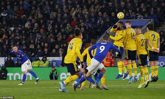 Maddison also came close for the Foxes after bending a superb free-kick just inches over the top of the crossbar