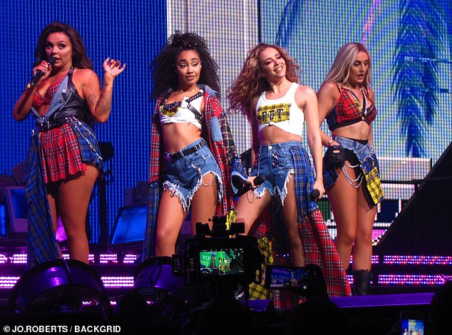 """Real pros: The 60-year-old music mogul called the girls group """"pros"""" during the live show when he made comparisons between them and the current X-Factor candidate V5"""
