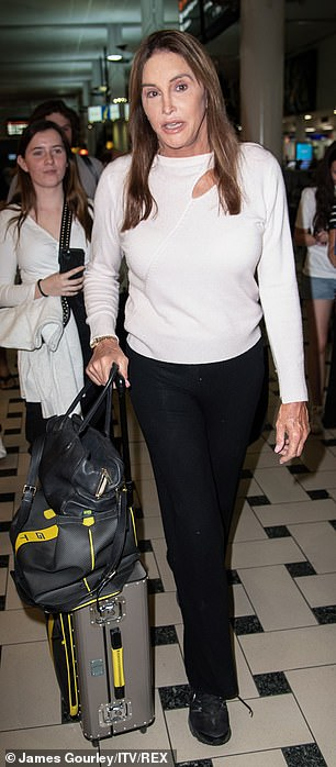 Spotted: Caitlyn, age 70, was seen aboard a plane in Los Angeles on Saturday, and she was wearing the same set in which she was leaving as she was crossing the Brisbane Arrivals Lounge.