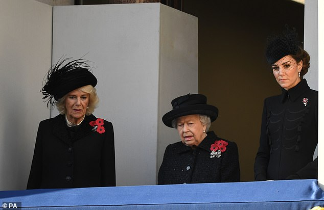 (from left to right) The Duchess of Cornwall, Queen Elizabeth II and the Duchess of Cambridge during the Sunday service at the Cenotaph Memorial in Whitehall