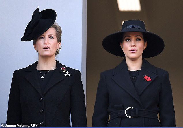 Opting for natural make-up and no jewellery, Meghan cut an elegant figure as she watched the ceremony with Sophie