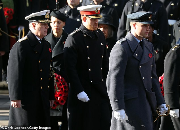 Prince Andrew, Duke of York, Prince Harry, Duke of Sussex and Prince William, Duke of Cambridge, attend the annual commemoration Sunday