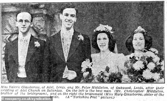 Valerie Glassborow and her twin sister Mary worked in Hat 16 at Bletchley Park. She later married Peter Francis Middleton (pictured on her wedding day) and had four sons, Michael, Richard, Simon, and Nicholas. Michael is the father of the Duchess of Cambridge