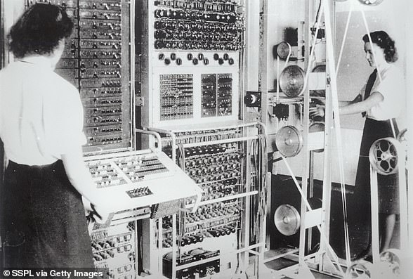 Two women work in hut 6 in Bletchley Park, Buckinghamshire, during World War II. Cryptographers deciphered top-secret military communications between Hitler and his forces, which ultimately supported the victory of the Allied forces