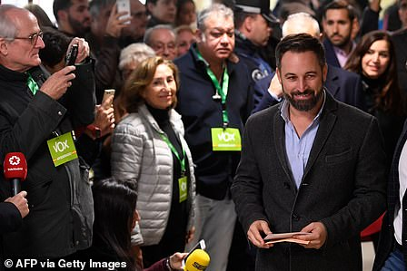 Vox party leader Santiago Abascal pictured casting his vote in Madrid, Spain