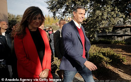 Prime Minister Pedro Sanchez with wife Maria Begona Gomez Fernandes goes to vote in Madrid, Spain