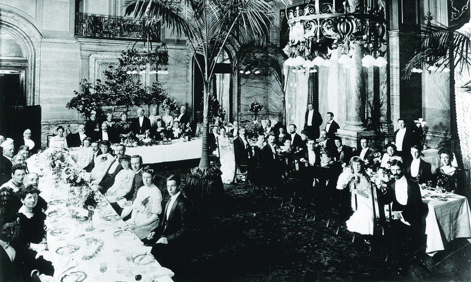 The hotel's illustrious history includes a wealth of guests and significant events. Its opening ceremony was attended by members of the Royal Family and it hosted a 'Welcome Back from Prison' breakfast for the Suffragettes. Pictured is a vintage photo of guests dining in one of the hotel's event spaces