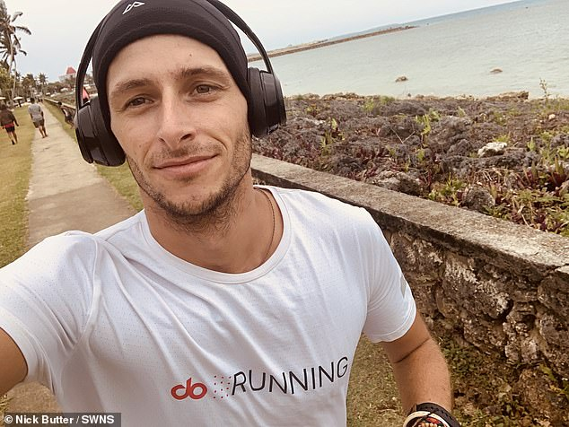 Pictured in headphones, Nick goes for a jog along the waterfront in New Zealand. And today he is continuing to raise money for Prostate Cancer UK