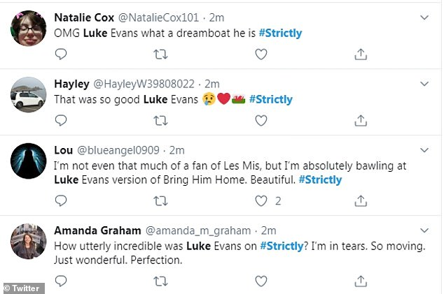 'How utterly incredible was Luke Evans on Strictly': The Beauty and the Beast actor left viewers in amazement by his stellar vocals