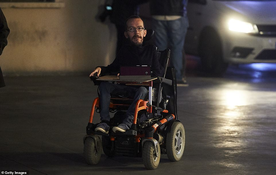 Lower temperatures across Spain on Sunday and heavy rain in some northern provinces could have also contributed to people staying at home. Pictured:Government Action secretary of Podemos, Pablo Echenique
