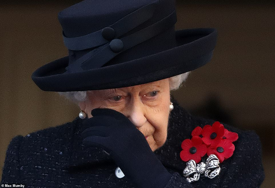 Her Majesty is pictured above shedding a tear.As a veteran herself – and, indeed, the only head of state in the world today who served in the Second World War – the Queen knows this ceremony better than anyone