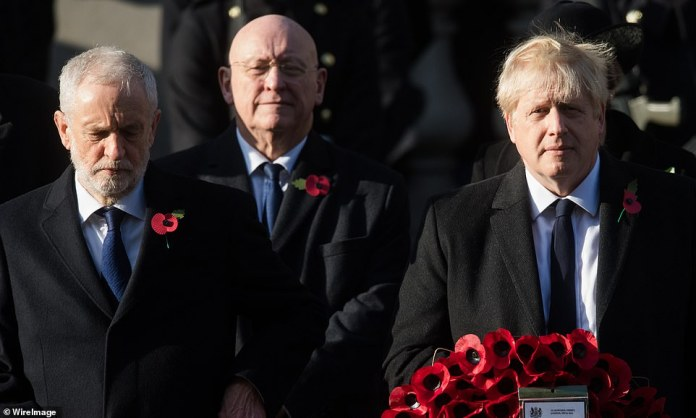 """The Prime Minister, Boris Johnson, set out too early to take off his wreath, met a deafening military command to """"Stand At - Ease!"""", And hastily shuffled back to his position before making a second attempt"""