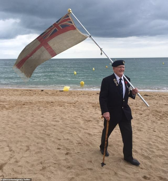 There, at the very front, I spotted Frank Baugh, 95, the former Royal Navy signalman who delivered that superb off-the-cuff speech at this summer's memorial service in front of millions of television viewers at the Commonwealth cemetery in Bayeux. He is pictured in Normandy