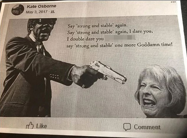 A fake image of Pulp Fiction's Samuel L Jackson holding a gun to Mrs May's head.The former PM winces as she is threatened to stop saying the words 'strong and stable'