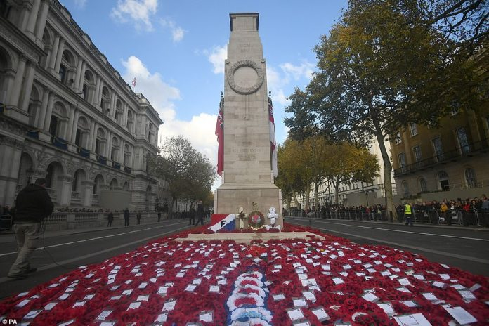 For Her Majesty, it remains as poignant as ever. Therefore, the tear ran gently down the royal cheek yesterday as it led the nation in honor of all those who made the ultimate sacrifice for their land. The cenotaph monument is pictured above after the service