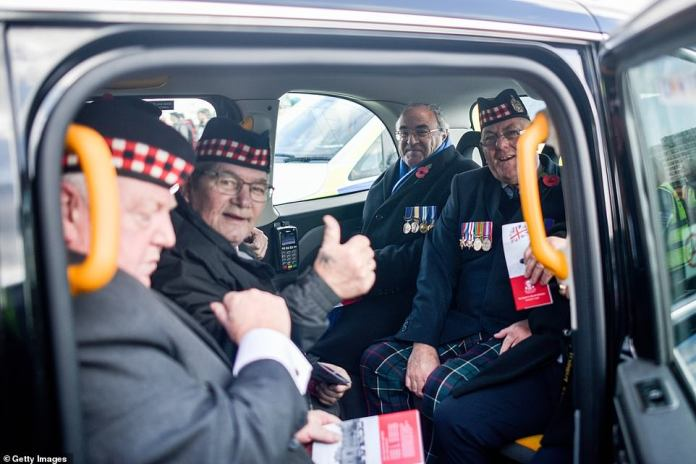 As every year, hundreds of London taxis were waiting around the corner to bring veterans across the capital for free. However, some familiar faces were missing